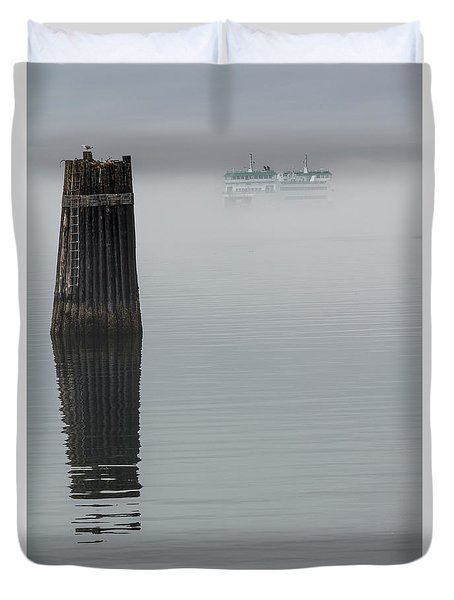 Ferry Hiding In The Fog Duvet Cover by Tony Locke