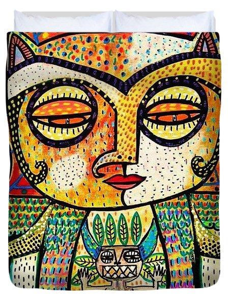 Fertility Totem Owl Goddess Duvet Cover