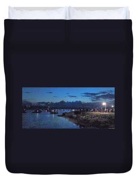 Duvet Cover featuring the photograph Festival Night Land And Shore by Felipe Adan Lerma