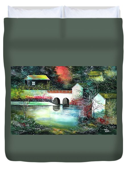 Duvet Cover featuring the painting Festival Of Lights by Anil Nene