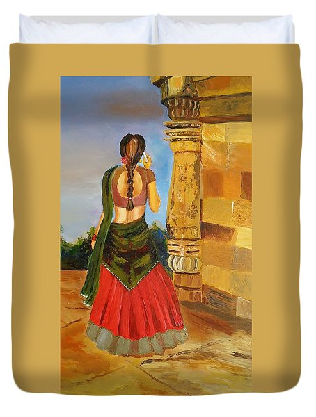 Duvet Cover featuring the painting Festival Times, India, Contemporary Art  by Geeta Biswas