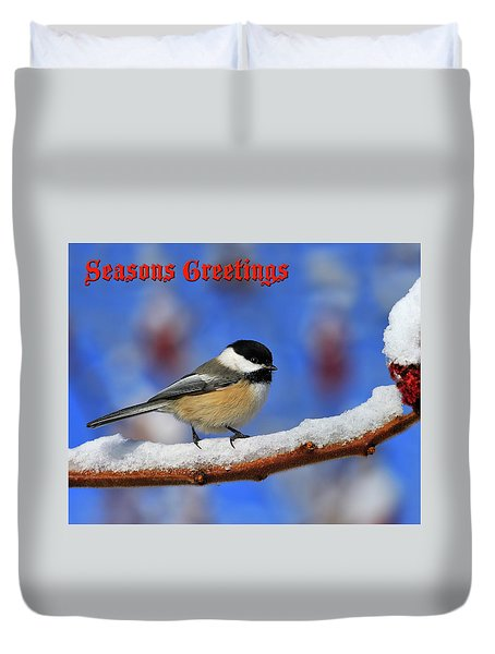 Duvet Cover featuring the photograph Festive Chickadee by Tony Beck