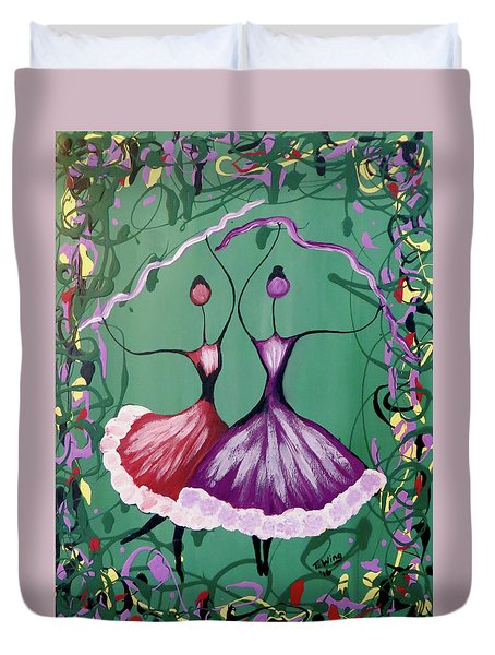 Duvet Cover featuring the painting Festive Dancers by Teresa Wing