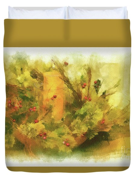 Duvet Cover featuring the photograph Festive Holiday Candle by Lois Bryan