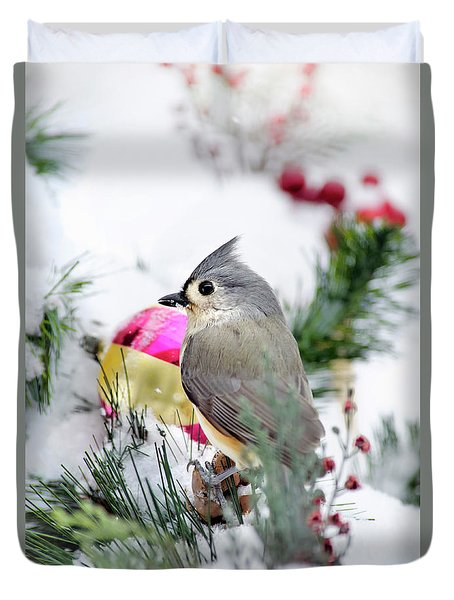 Festive Titmouse Bird Duvet Cover