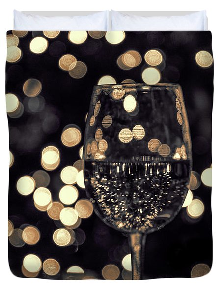 Duvet Cover featuring the photograph Festive White Wine by Steven Sparks