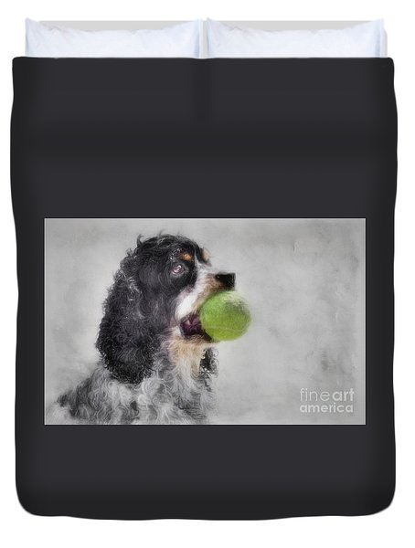 Duvet Cover featuring the photograph Fetching Cocker Spaniel  by Benanne Stiens