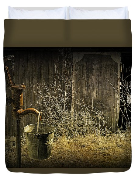 Fetching Water From The Old Pump Duvet Cover by Randall Nyhof