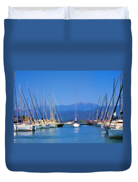 Duvet Cover featuring the digital art Fethiye Harbour by Rob Tullis
