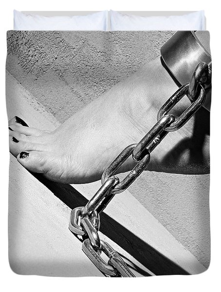 Fetish Shackled Or Cuffed Feet Duvet Cover