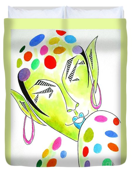 Fey -- The Original -- Fantasy Elf Portrait With Polka Dots Duvet Cover