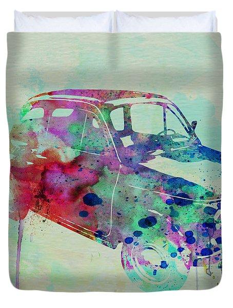 Fiat 500 Watercolor Duvet Cover by Naxart Studio