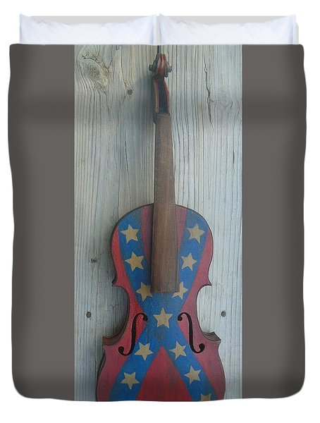Duvet Cover featuring the mixed media Fiddle Rebel Flag by Steve  Hester