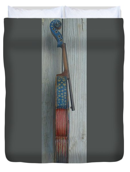 Duvet Cover featuring the mixed media Fiddle Side View by Steve  Hester