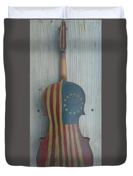 Duvet Cover featuring the mixed media Fiddle Thirteen Star Flag by Steve  Hester
