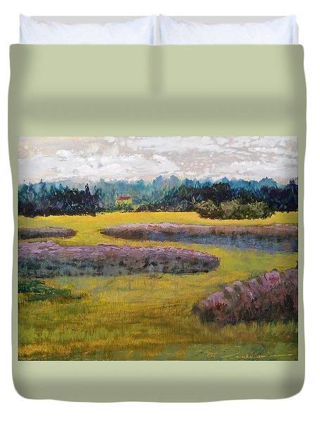 Fiddlers Ridge Marsh Duvet Cover by Peter Senesac