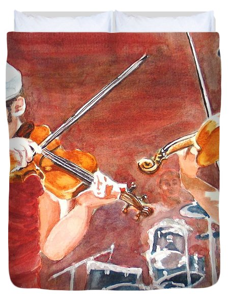 Duvet Cover featuring the painting Fiddles by Karen Ilari