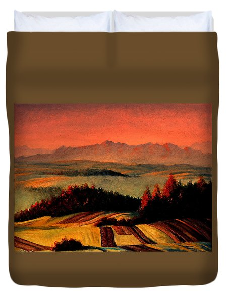 Field And Mountain Duvet Cover