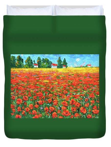 Field And Poppies Duvet Cover