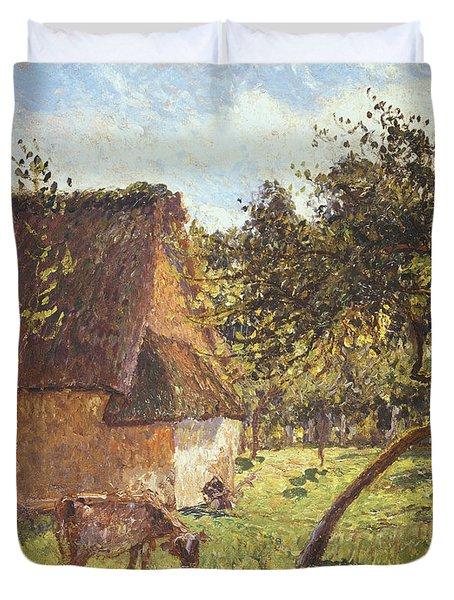 Field At Varengeville Duvet Cover by Camille Pissarro