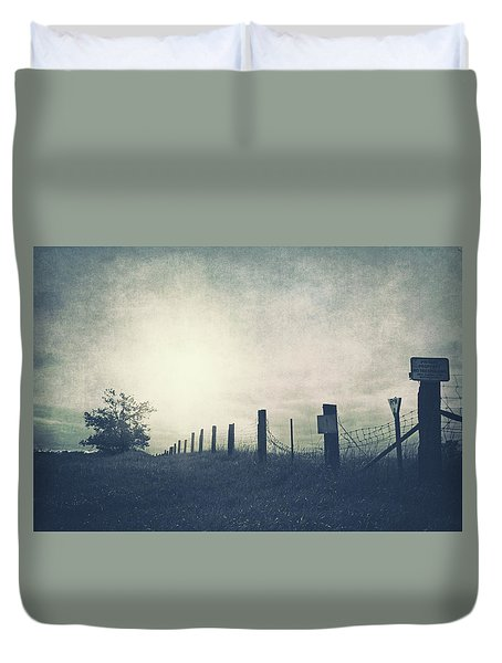 Field Beyond The Fence Duvet Cover