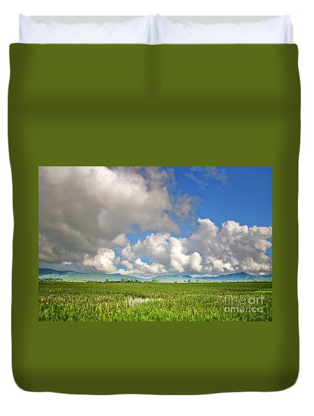 Duvet Cover featuring the photograph Field by Charuhas Images