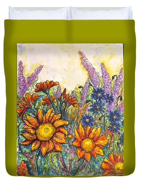 Duvet Cover featuring the painting Field Flowers #2 by Rae Chichilnitsky