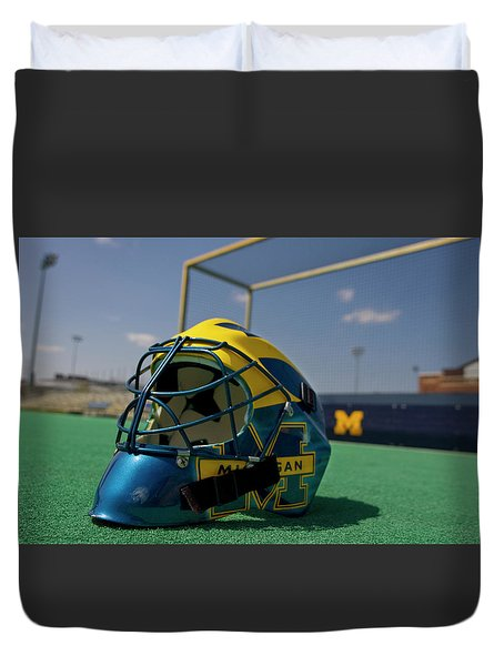 Field Hockey Helmet Duvet Cover