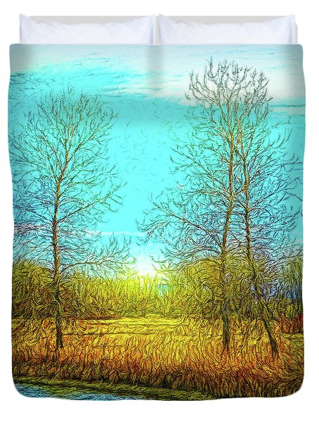 Field In Morning Light Duvet Cover