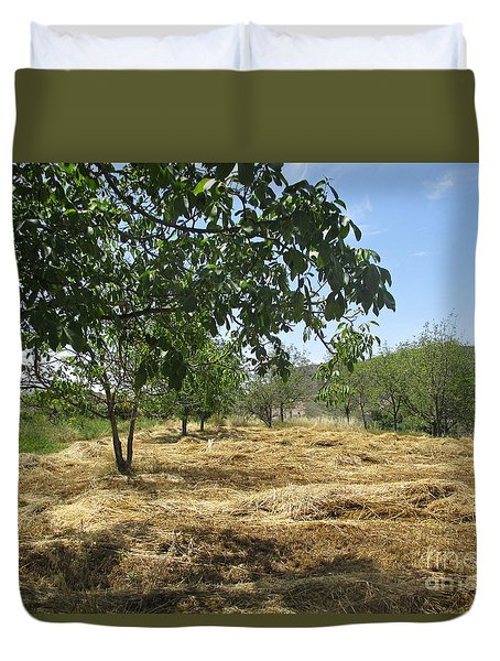 Field Near Busquistar Duvet Cover
