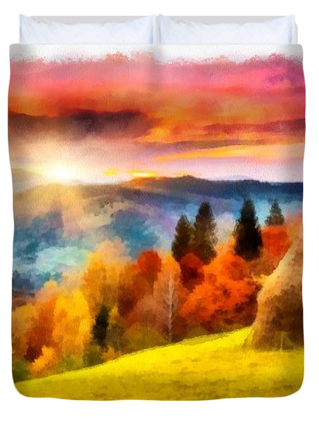 Field Of Autumn Haze Painting Duvet Cover
