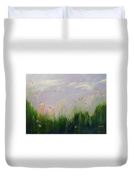 Field Of Bee's Duvet Cover by Sue Furrow