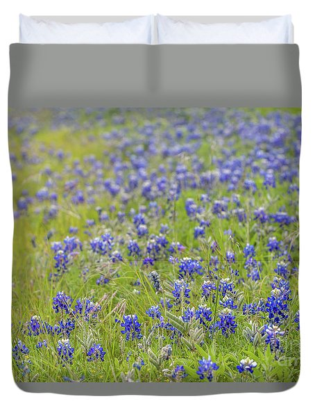 Field Of Blue Bonnet Flowers Duvet Cover