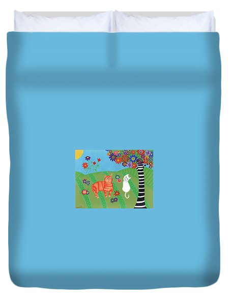 Field Of Cats And Dreams Duvet Cover