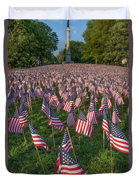 Field Of Flags At Boston's Soldiers And Sailors Monument Duvet Cover