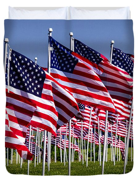Field Of Flags For Heroes Duvet Cover