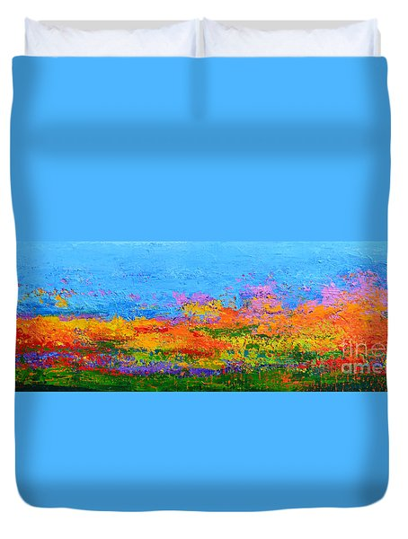 Abstract Field Of Wildflowers, Modern Art Palette Knife Duvet Cover