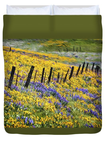 Field Of Gold And Purple Duvet Cover