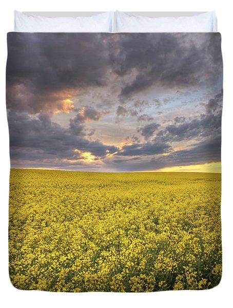 Duvet Cover featuring the photograph Field Of Gold by Dan Jurak