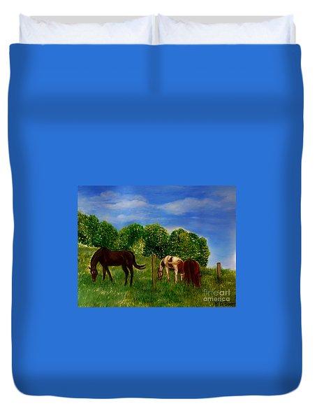 Field Of Horses' Dreams Duvet Cover