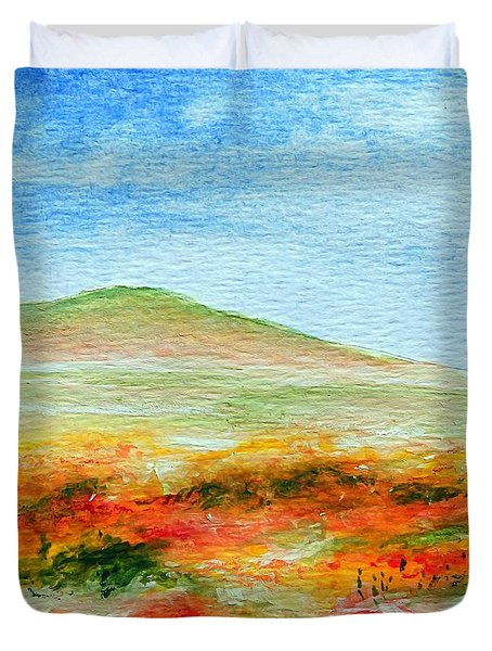 Field Of Poppies Duvet Cover by Jamie Frier