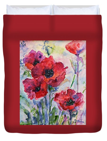 Field Of Red Poppies Watercolor Duvet Cover by AmaS Art