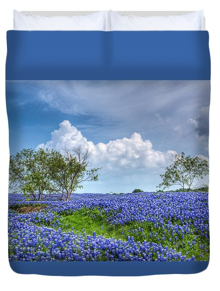 Field Of Texas Bluebonnets Duvet Cover by David and Carol Kelly