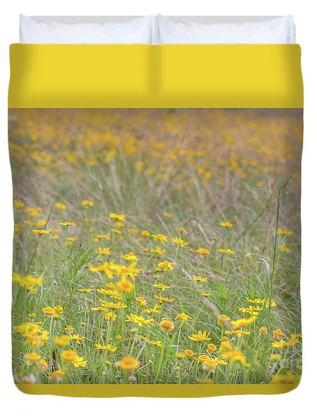 Field Of Yellow Flowers In A Sunny Spring Day Duvet Cover