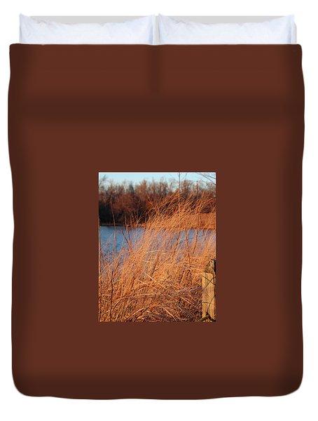 Amber Brush On The River Duvet Cover