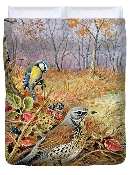 Fieldfare And Blue Tit Duvet Cover
