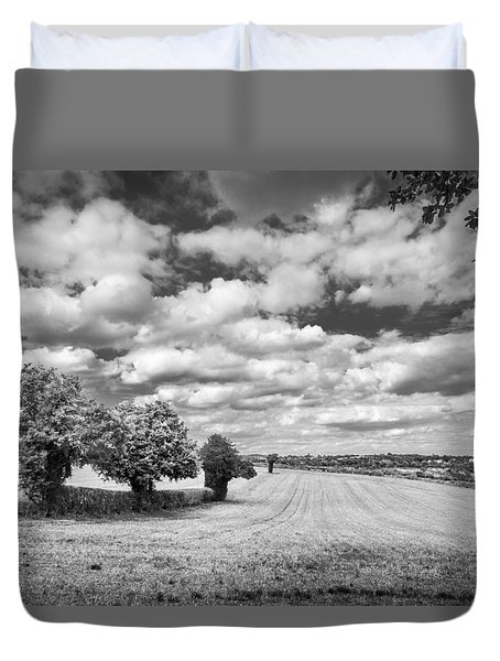 Duvet Cover featuring the photograph Fields And Clouds by Gary Gillette