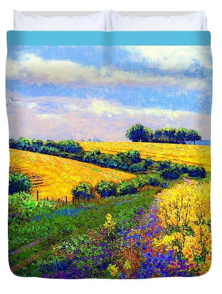 Duvet Cover featuring the painting Fields Of Gold by Jane Small