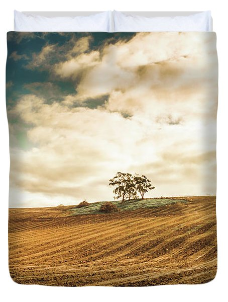 Fields Of Tasmanian Agriculture Duvet Cover