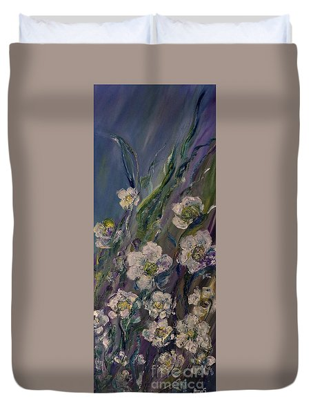 Fields Of White Flowers Duvet Cover by AmaS Art